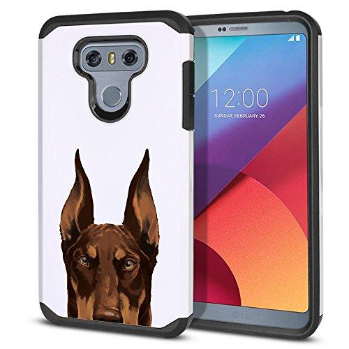 FINCIBO LG G6 / G6+ Plus Case, Dual Layer Hard Back Hybrid Protector Cover Anti Shock TPU Skin For LG G6 / G6+ Plus LS993 VS998 - Red Chocolate Doberman Pinscher Dog (Pinscher Ornaments Red)