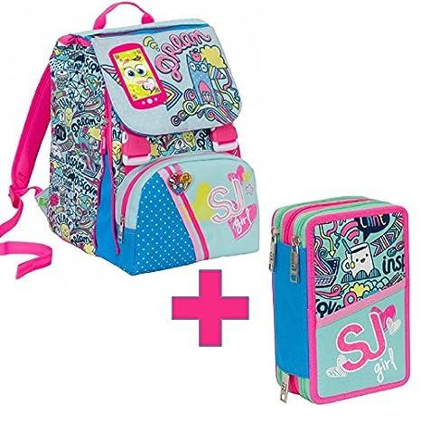 d09eeae0ca Kit scuola zaino 28L sdoppiabile bambina Seven SJ GANG GIRL azzurro  2c2001704 con astuccio 3 cerniere ...