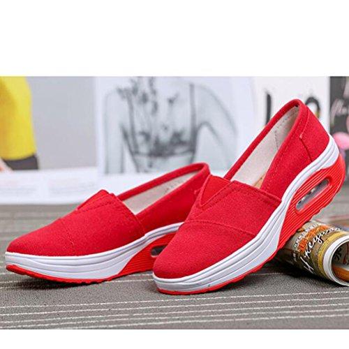 Zeppa Mallimoda Scarpe in Outdoor Alte Ginnastica da Rosso Sneakers On Slip Donna Tela zrq5B0z