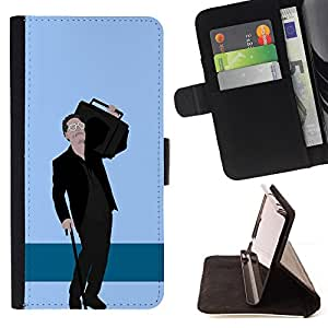 DEVIL CASE - FOR Samsung Galaxy Core Prime - Music Speaker Big Man Parody Gangsta Caricature - Style PU Leather Case Wallet Flip Stand Flap Closure Cover