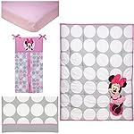 Disney-Minnie-Mouse-Polka-Dots-4-Piece-Nursery-Crib-Bedding-Set-Light-PinkWhiteGreyBright-Raspberry