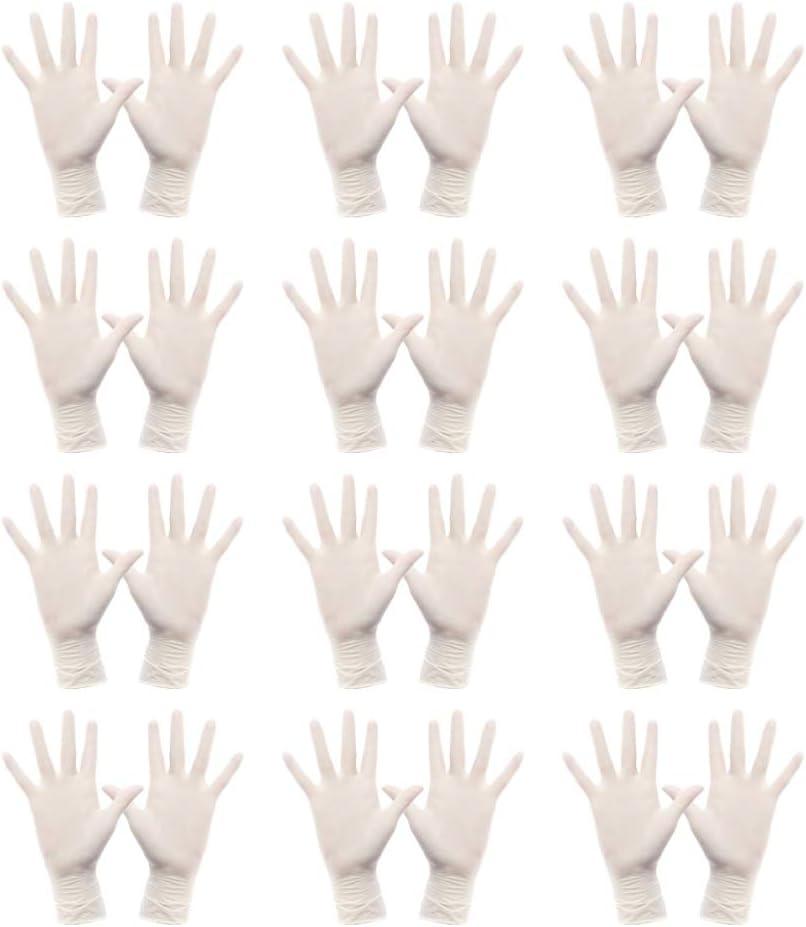 Hemoton 50 Pares de Guantes de Goma de L/átex Desechables Guantes de Examen de Guantes Protectores para Jard/ín Talla XL Blanco
