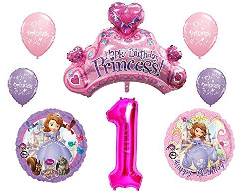 Disney's Sofia the First 1st Happy Birthday Party Balloons Decorations Supplies Bundle -