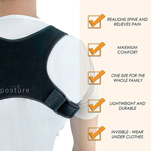 Discreet Posture Corrector for Men and Women That Provide Clavicle and Shoulder Support, Relieve Pain, Improve Thoracic Kyphosis, Prevent Slouching | Under Clothes Upper Back Brace | Regular Size by Vriksasana Posture (Image #3)