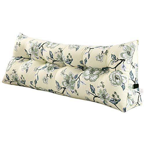 (Roner Large Floral Triangular Wedge Pillow Positioning Support Reading Backrest Cushion Upholstered Headboard Canvas Lumbar Pillow for Sofa Bed Daybed Removable Washable Cover White 79 Inches)