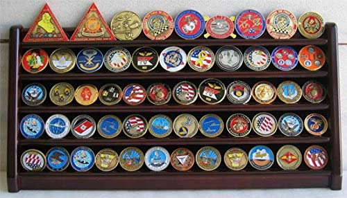 3 Row Challenge Coin Display Holder Military Coin Holder Display Stand (Solid Walnut )for Office Decor Bottom Silicone Anti-Slip Pad