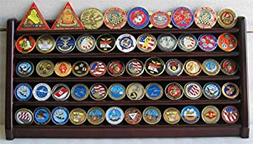 5 Rows Challenge Coin Holder Display Stand, Solid Wood, Mahogany Finish COIN5-MAH