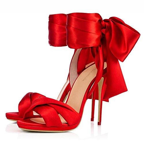 L@YC Damen High Heels Spring Silk Hochzeit & Abend Stiletto Heel/Weitere Farben zur Verfügung Red