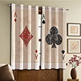 Custom design curtains/Vintage Lace Window Curtain/Grommet Top Blackout Curtains/Thermal Insulated Curtain For Bedroom And Kitchen-Set of 2 Panels(Diamonds Clubs Poker Cards Game Grunge Gambling)