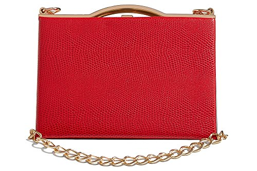 Women Faux Snakeskin Clutch Purse Hard Case Handbag With Two Detachable Chains (red, gold) (Chain Gold Red)
