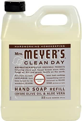 Meyers Lavender Liquid Hand Soap Refill contains Olive oil and Aloe Vera (33 Oz)