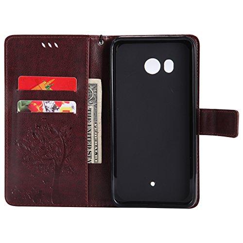 Funda HTC U11, SsHhUu Funda PU Piel Genuino [Ranuras para Tarjetas] [Cierre Magnetico] con Lápiz óptico + Acollador para HTC U11(5.5) Oro Rose Marrón