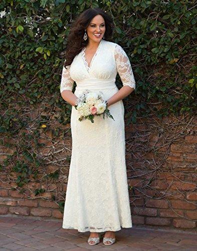 Kiyonna Women's Plus Size Amour Lace Wedding Gown 1X Ivory