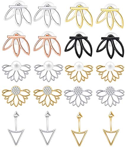 - WAINIS 10 Pairs Multiple Dainty Lotus Flower Ear Jacket Stud Earrings for Women and Girls Boho Chic Cz Stud Ear Jewelry Earring Set