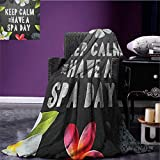 Zen throw blanket Keep Calm Have a Spa Day Quote Healthcare and Beauty Treatment Graphic Stones Flowers miracle blanket Multicolor size:50''x60''