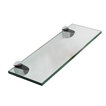 Melko Glasablage, Glasregal ideal für Bad, Dusche und zur modernen  Dekoration mit Halterung aus Edelstahl 40 x 10 x 0,8 cm, Klarglas