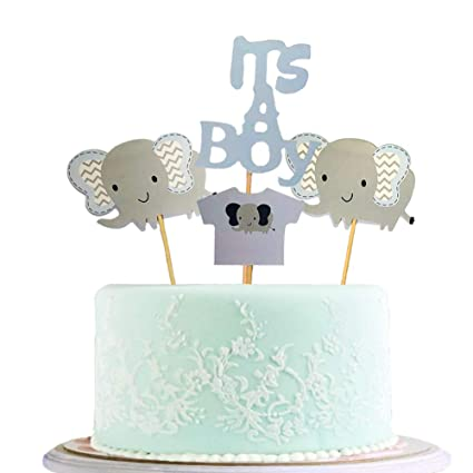 Baby Boy Blue Elephant Love Heart Cake Topper Happy Birthday Party Gender Reveal