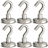 GREATMAG Magnetic Hooks, 80 lbs Heavy Duty Magnet Hooks, Super Powerful Neodymium Magnets for Hanging, 1.26 Inches Diameter, Pack of 6
