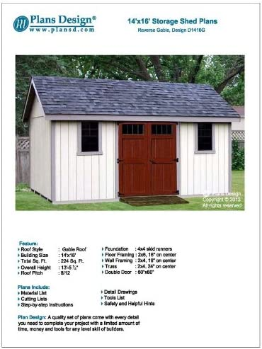Storage Shed Building Plans 14 X 16 Reverse Gable Roof Style Design D1416g Material List Included Woodworking Project Plans Amazon Com