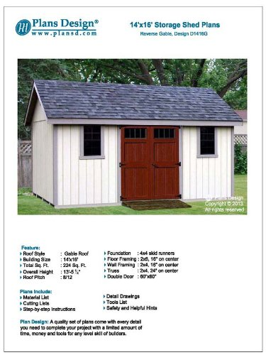 Storage Shed Building Plans 14 X 16 Reverse Gable Roof Style