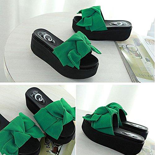 Di Spiaggia colore Nero Feste Scarpe uk6 Le Verde Da Donne Verde Pantofole Delle Modo Per Sandali verde cn39 Dimensioni Haizhen Femminili 7cm Eu39 Donna zXTxqpw