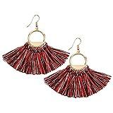 Tassels Earrings Bohemia Ethnic Dangle Eardrop Fan Fringe for Women Girls White Red Black (Mixed color)