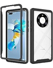 Ttimao Hoesje voor Huawei Mate 40 Pro Plus 360° Hele Lichaam Shock Proof Doorzichtig Telefoonhoes [Screen Protector] Hybride Flexibele TPU Siliconen en Harde PC Cover Case-Zwart