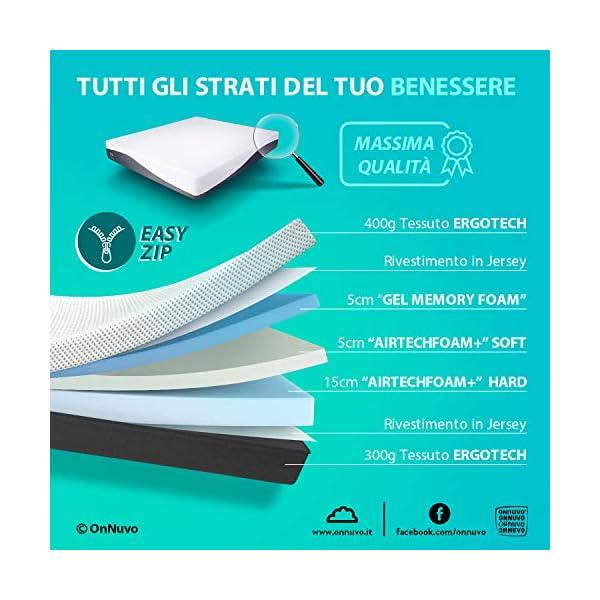 OnNuvo Materasso New Gel Memory Foam, 25 cm, Antidecubito, Alta Densita' 50-55 kg/m3, AirTeachFoam+, Ortopedico… 2 spesavip