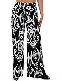 Womens Fold Over Waist Wide Leg Palazzo Pants, Good for Tall Curvy Women-Ships from U.S.A (Los Angeles)
