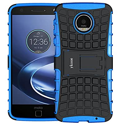 Moto Z Force Case,Moto Z Force Droid Case Shockproof,ykooe Heavy Duty Dual layer Protection Case Non-slip Grip Phone Cover With Stand for Motorola Moto Z Force (Not Fit for Moto Z Droid) from ykooe