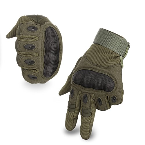 KevenAnna Full Finger Cycling Motorcycle Gloves Outdoor Tactical Shooting Gloves for Military Gear Men's Military Gloves for Army Tactical Gear (2-Army Green, Large)