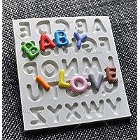 Anqeeso Molde para tartas 1 pieza 3d silicona alfabeto letra fondant chocolate mousse molde Sugarcraft Cutter
