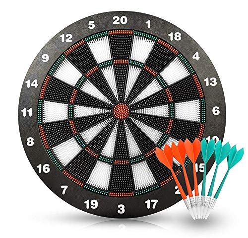HagieNu Safety Soft Tip Dart Board Game Set Darts Game Dart Board Set No Harm to Kids- 17 Inch Rubber Dart Board with 6 Soft Tip Darts for Kids and Adults, Partys Office and Family Time