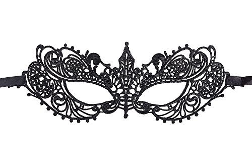 AshopZ Women's Classic Goddess Venetian Masquerade Lace Eye Mask, Black ()