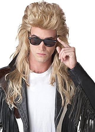 uhc 80s rock mullet redneck long blonde men halloween costume wig accessory