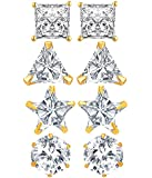 Jewels Galaxy American Diamond White Gold-Plated Stud Earrings For Women - Combo Of 4