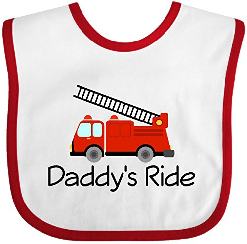 Inktastic - Fire Truck Daddy's Ride Baby Bib White/Red - Bib Firefighter Future Baby