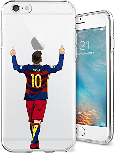 iPhone 6/6s Case, Chrry Cases Ultra Slim [Crystal Clear] [Soccer Series] Lionel Messi Soft Transparent TPU Case Cover for Apple iPhone 6/6s (4.7) - Leo (Crystal Clear Football)