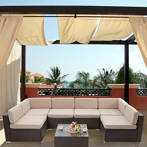 Cheap  7-Piece Patio Wicker Sectional Furniture Set-Outdoor Rattan Sofa Set
