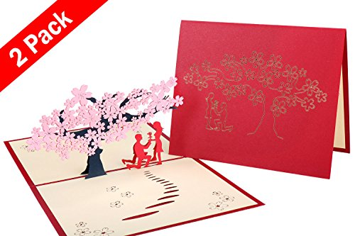 2 Pack 3D Lover Greeting Cards, Wimaha Pop-up Chinese Paper Cutting Cards with Sakura of Lover for Valentine's Day, Engagement, Wedding, Anniversary, 13cm x 16cm (Sweetest Day Gift Ideas)