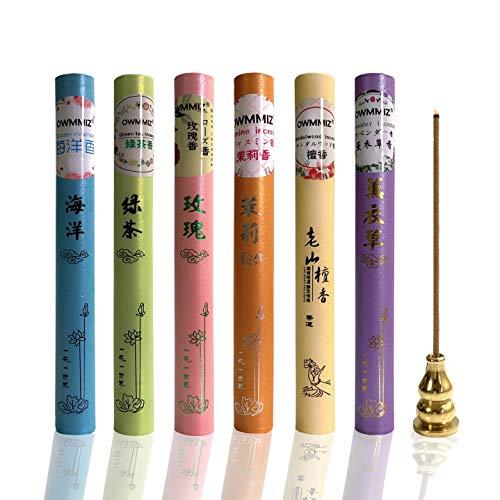Premium Incense Sticks Gift Set 240 Stick, Variety Includes Lavender, Ocean, Sandalwood, Green Tea, Rose, Jasmine & 1 Gourd Holder (Incense Sticks)