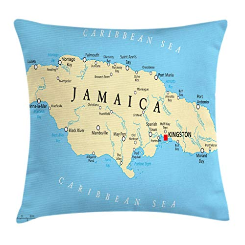 Ambesonne Jamaican Throw Pillow Cushion Cover, Map of Jamaica Kingston Caribbean Sea Important Locations in Country, Decorative Square Accent Pillow Case, 18 X 18 Inches, Pale Blue Beige Black