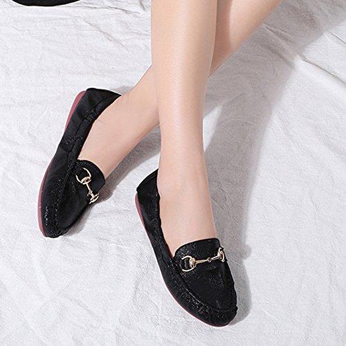 YR Damas Libre Zapatos Black Mocasín Zapatos De Metal Cabeza Cómodos De Zapatos Caminar Al Zapatos Mujer Hebilla De Aire Barco Pescador De De De Suaves Para Y R Redonda gwrf0Fg