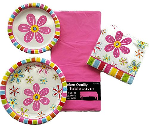 Girl Birthday Party Supply Bundle of 4 Pink Daisy Paper Plate, Napkin and Tablecloth - Service for 8 -