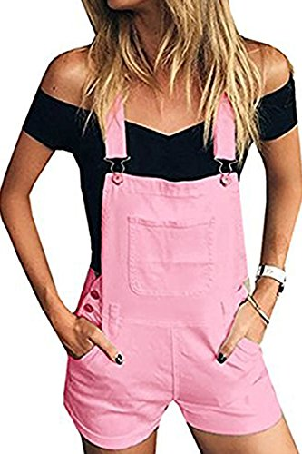 Jeanewpole1 Womens Summer Distressed Denim Bib Short Jumpsuits Casual Shortalls Overalls with Pockets (X-Large, Pink)