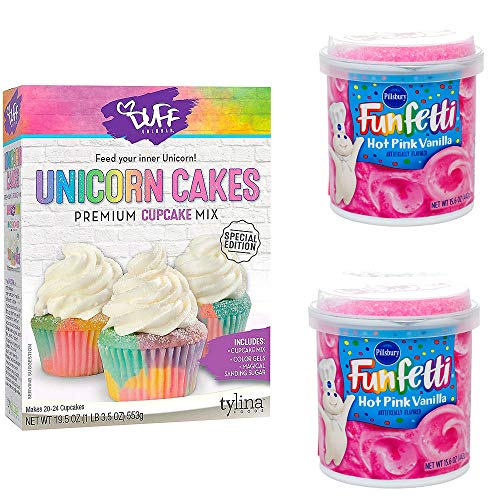Unicorn Birthday Cupcake Mix and 2 cans Pink Frosting Bundle of 3 items
