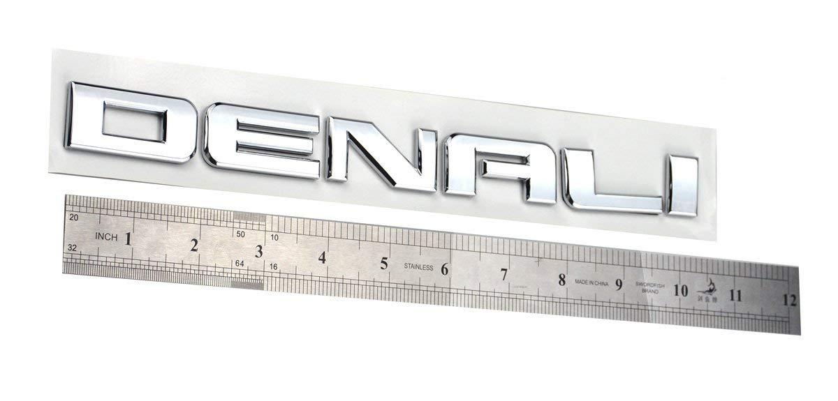 Chrome 2pcs Denali Nameplate Emblems Hd Badges Compatible for Gm 07-16 Yukon Sierra Terrain
