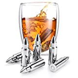 Image of Set of 6 Whiskey Chilling Stones Reusable Stainless Steel Bullet Shaped Rocks with Tongs and Storage Pouch | Perfect Gift for Whiskey Lover