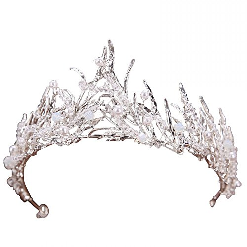 Miranda's Bridal Women's Bridal Tiaras Pageant Queen Crown Pearl Headbands for ()