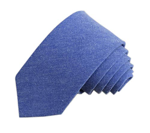 (Men Denim Blue Jacquard Woven Comfortable Groomsman Party Self Slim Cravat Ties)